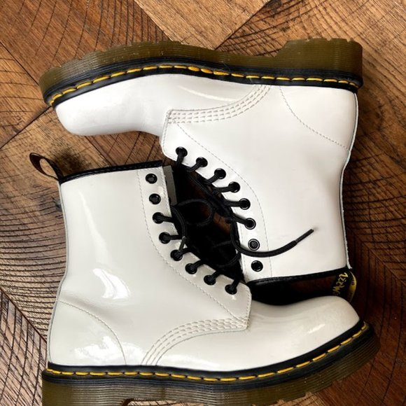 Dr Martens 46 White Patent Leather Lace